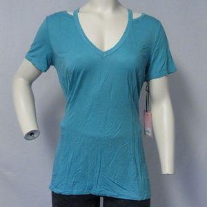 Juicy Couture Maui Blue Cut-Out Shoulder VNeck Tee